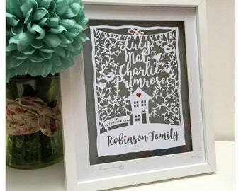 Handcut New Home Gift Art - Personalised Family Love Papercut Art - New Home, Celebration, Family gift