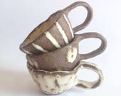 Espresso cup/ Babychino cups/ pottery/ ceramics/ stoneware/ rustic/ toddler mug/ shino style/ baby gift/ spots/ stripes/ plain