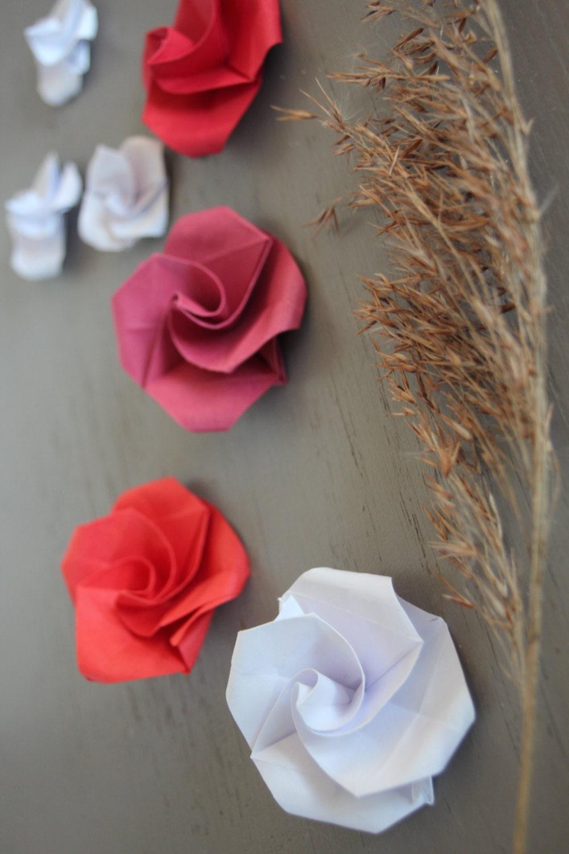 roses fleurs papier 20 origami decoration mariage decor table etsy. Black Bedroom Furniture Sets. Home Design Ideas