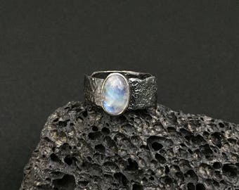 Sterling Silver Oxidised Rainbow Moonstone Ring