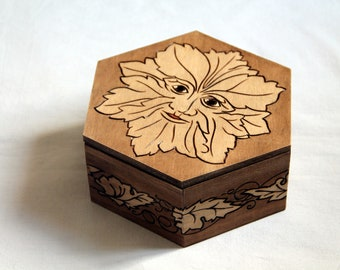 Green Man wooden box with vegetable frieze