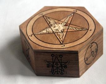 Baphomet box, wooden chest, pentagram, goat, devils, witchcraft, warlock, storage box, Astaroth, Lilith, Lucifer, magic circle