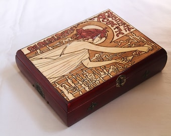 Vintage tea box carved with Absinthe Robette in Art Nouveau style