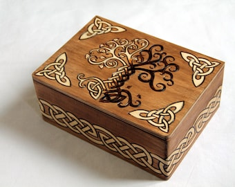 Wooden box, carved with viking patterns, celtic chest, Yggdrasil, tree of life, interlacings, viking runes, jewelry box, scandinavian
