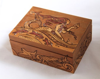 Vintage wooden box, carved with mermaid pattern, in Art Nouveau style