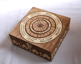 Wooden box carved with wheel of the year