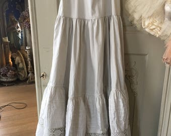 Antic french underskirt from the countryside with handmade lace ,several layers under