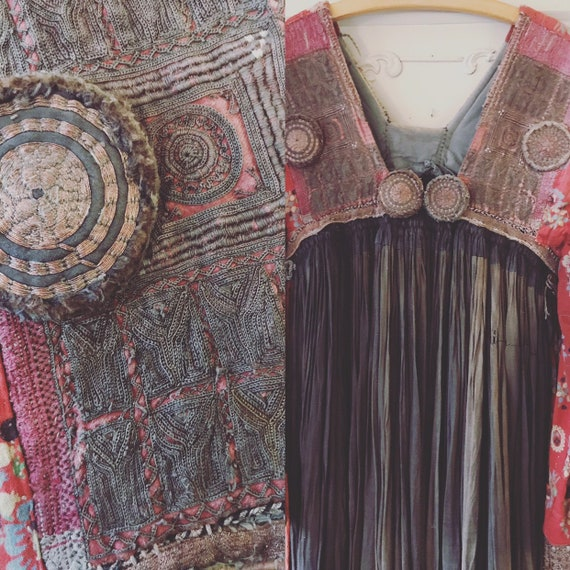 Antic beautiful nomad dress from India with a lot
