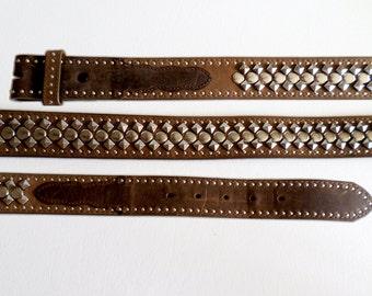 Size 36 91cm Snap On Belt Strap, Studded Brown Leather Belt with Sewn on Billets, Boho Southwestern Country Western Wear, ID 467428866