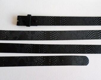 Size 36 91cm Snap On Belt Strap,  1 1/2 inch 38mm Black Leather Free Imitation Reptile, Boho Southwestern Country Western Wear, ID 475691157