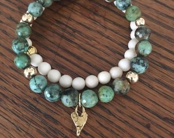 African Turquoise Stacking Bracelet - Gold and Turquoise Bracelet - 18k Gold African Turquoise Bracelet - Beaded Gem Stretch Bracelet