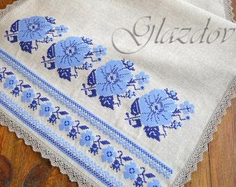 Natural Linen Table Runner, Table Runner with Embroidery, ukrainian embroidery, gift ukrainian, ethnic table runner