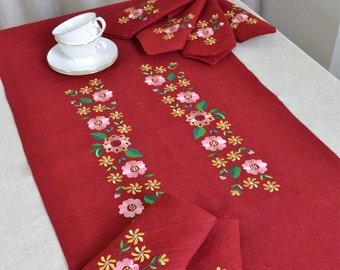 Ukrainian embroidery, Linen Table Runner, Table Runner, embroidered Table Runner
