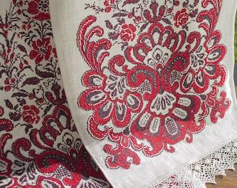 Ukrainian Linen Embroidered Rushnyk, Ukrainian traditional souvenir