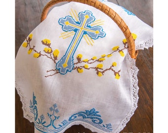Orthodox Easter Basket Covers, linen 100%, cross stitched