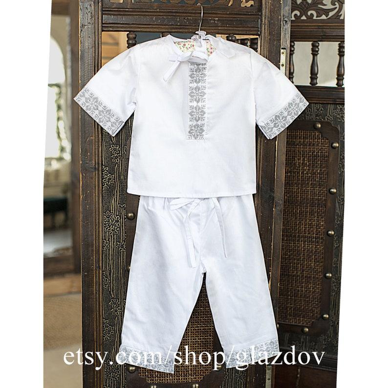 White Christening Suit  Boys Christening  Boys Baptism Outfit  Christening Romper  Baby Boy Baptism Shirt Baptism Toddler Baptism Gift
