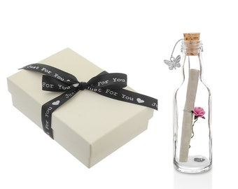 1fb2d94679 Unique Personalised Message in a Bottle Gift with Heart and Butterfly | Gift  Boxed | FAST DISPATCH