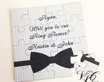 Personalized Ring Bearer proposal Ask Ring Bearer Will You Be Our Ring Bearer puzzle Ring Bearer Invitation puzzle Suit up card