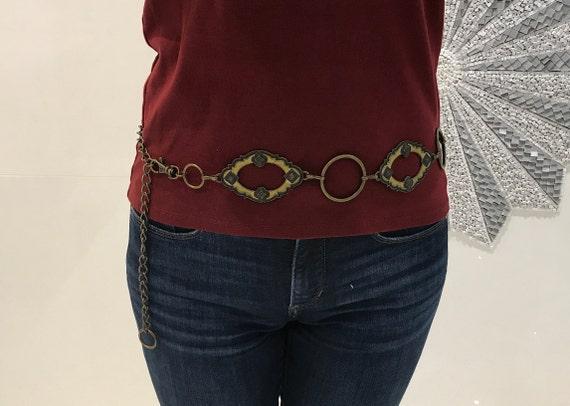 Boho belt, chain link belt, vintage belts, 70's at
