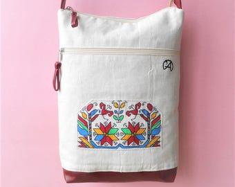 Folk Motive Crossbody Bag,Painted Shoulder Bag,Folk Shoulder Purse,Crossbody Travel Bag,Bulgarian Folk Bag,Folk Motive Bag,Linen Folk Bag