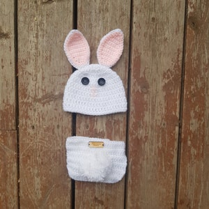 one pieces Photo Prop BEIGE Bunny Swaddle Wrap with Hat Bunny Hat and Wrap