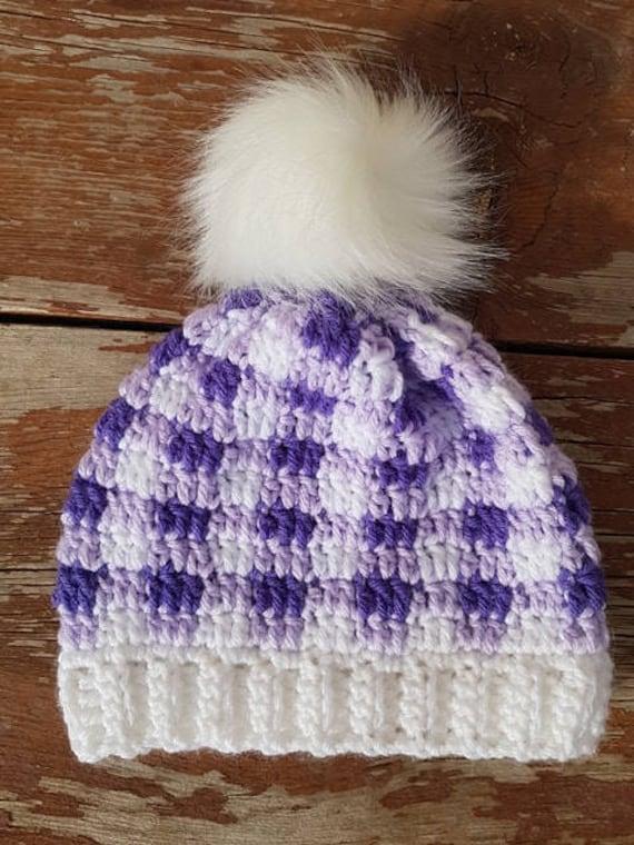 Guantity limitata vendita outlet in vendita all'ingrosso Buffalo purple plaid inverno cappello con pom pom bianco | Etsy