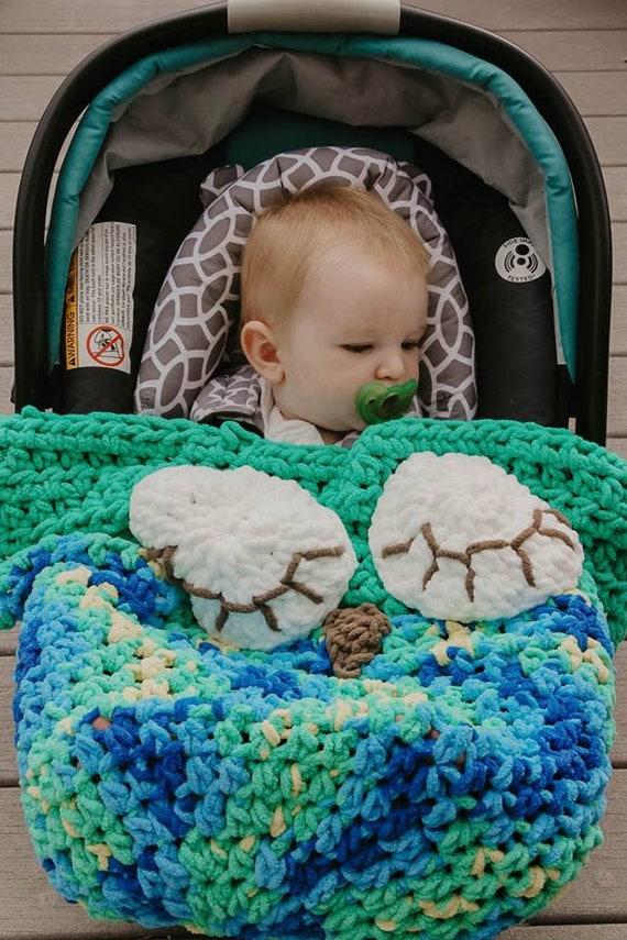 cozy fox blanket car seat blanket Crochet fox owl bear car seat blanket
