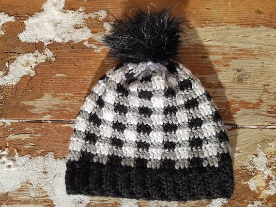 Handmade crochet Buffalo Plaid hat Pink Gray and Black Child/'s size