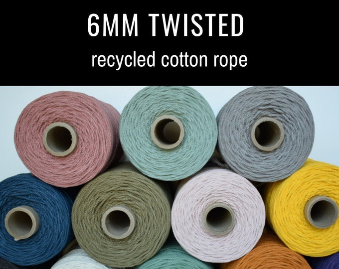 6mm twisted recycled cotton rope