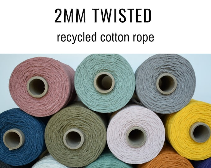 2mm twisted recycled cotton rope