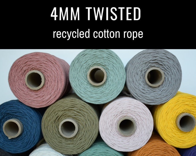 4mm twisted recycled cotton rope