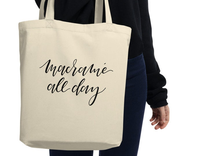 macrame all day tote bag