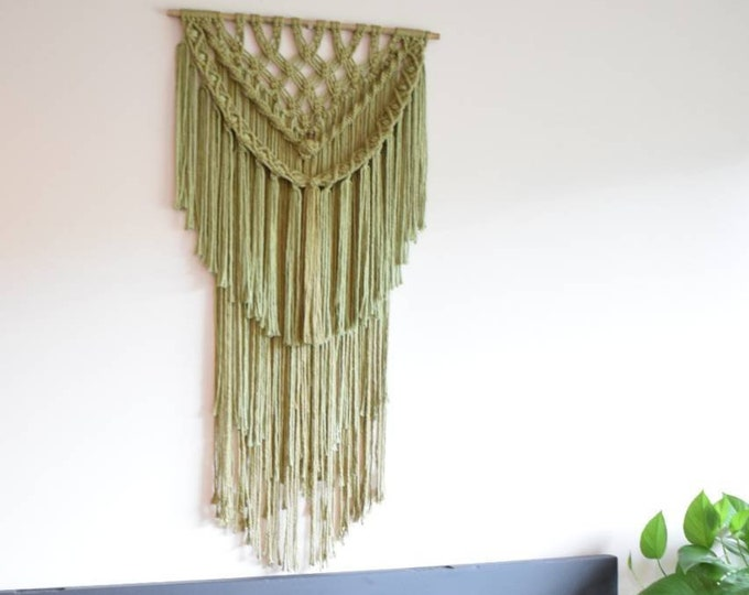 olive and sage macrame wall hanging