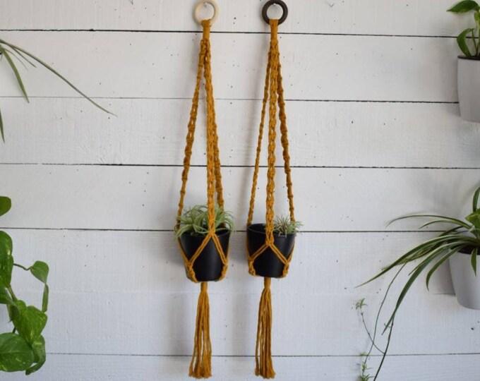 mustard macrame plant hanger
