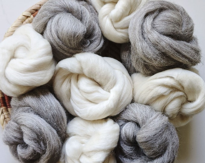 natural grey or creamy white wool roving