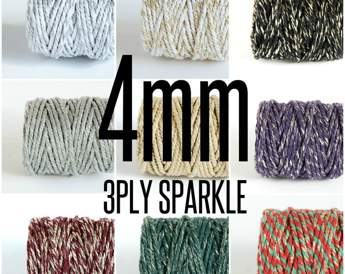 4mm sparkle cotton rope, 3 strand twisted