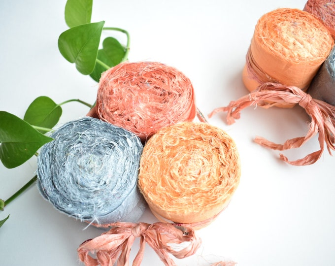 recycled sari silk ribbon rolls