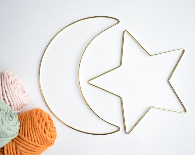 moon and star macrame frame