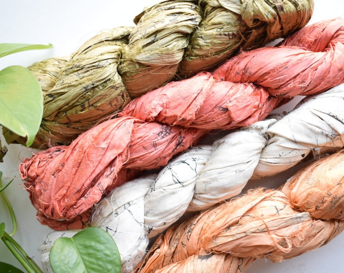 marble recycled sari silk ribbon