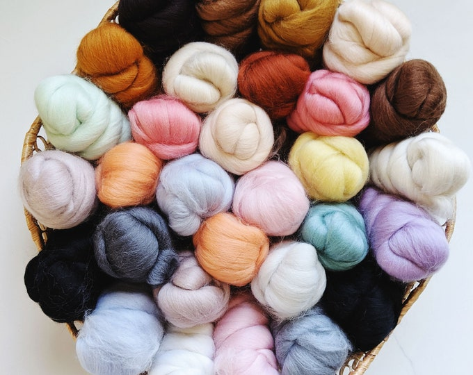 merino wool roving fiber pack - free US shipping