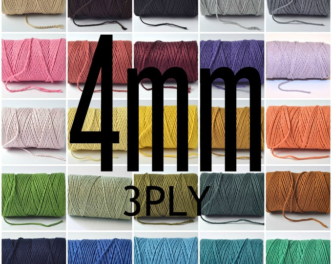 4mm colored cotton rope, 3 strand twisted
