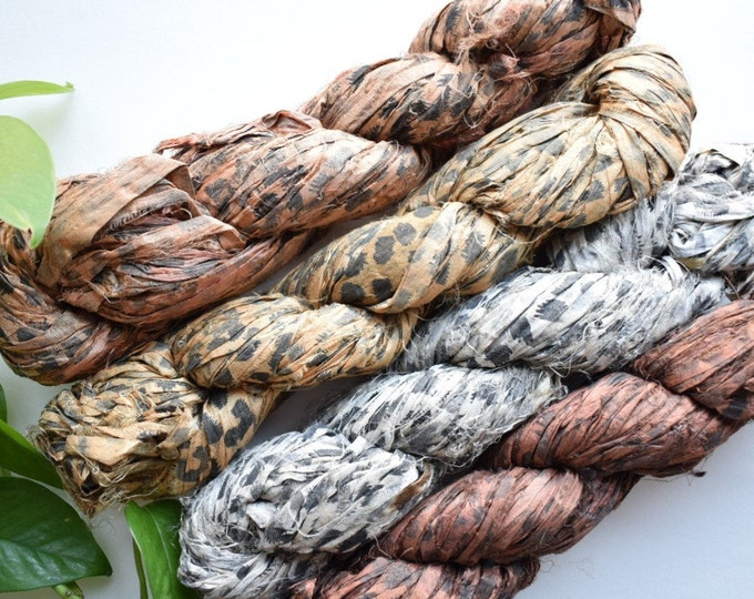 cheetah sari silk ribbon