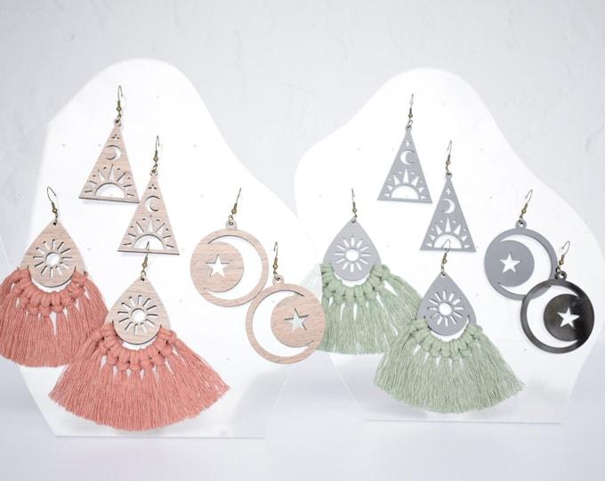 celestial macrame earring findings