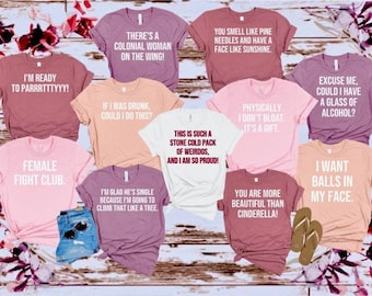 Bridesmaids Movie Funny Quotes Group Shirts, Bachelorette Party, Custom Unisex Comfy T-shirts