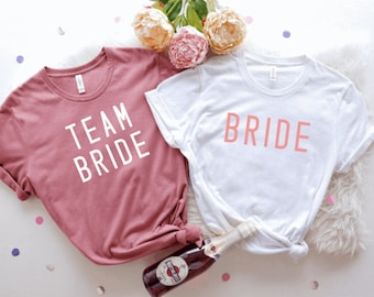 Bride and Team Bride Unisex T-shirts, Group Bachelorette Party T-shirt