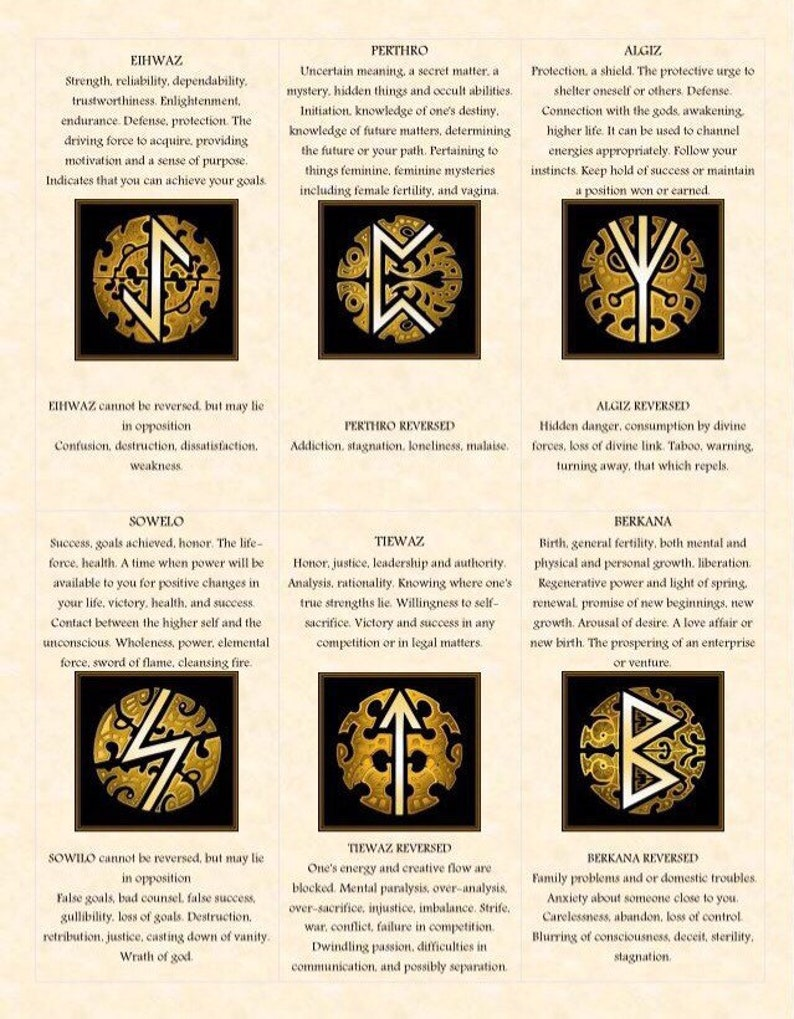 Runes cards  Viking Rune  Digital download  Fortune telling  Divination  practice