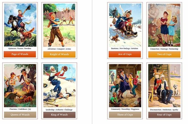 Grandparents Day tarot deck  Divination cards  Vintage art
