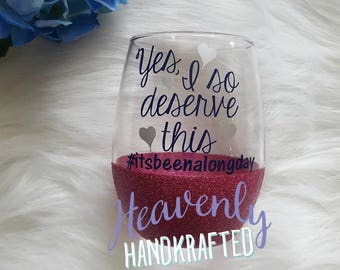 Yes I So Deserve This Glitter Stemless Wine Glass // Glitter Stemless Wine Glass // Stemless Wine Glass // Birthday Gift // Glitter Cup