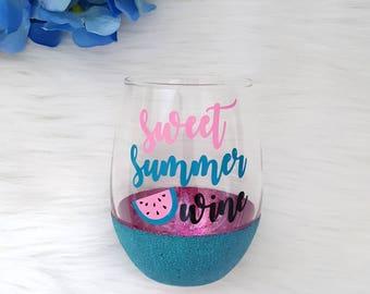 Sweet Summer Wine Glitter Stemless Wine Glass // Watermelon Glitter Stemless Wine Glass // Summer Stemless Wine Glass // Wine Gift