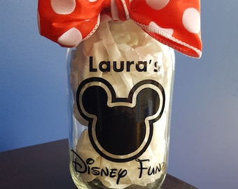 Disney Fund Mason Jar // Disney Money Jar // Disney Vacation Savings // Vacation Fund // Disney Gift // Disney // Mickey Jar // Mickey Fund